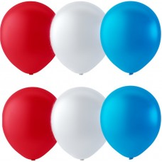 """Balloons 12"""" Pastel Red White Blue Colour Mix - pack 100"""