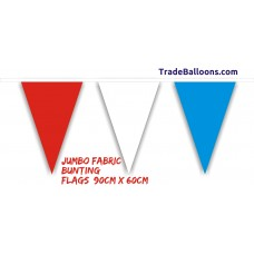 Bunting Red White Blue  Jumbo Flag fabric  - 25m (flag 90cm x 60cm)